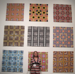 Thats me in front of the Color Grids at the opening of the how HIgh Fiber Diet  in Bellevue. My studio is not big enough to hang these all together, so it was really exciting to see my work be so big and me be so small.. It has got me wondering about artists who do installations, who think BIG. Can I do it too?