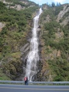 Here are Debbie and I in front of Bridal Veil Falls outside of Valdez, Alaska.