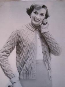 This one is from a pattern called Bear Brand Hand-Knit Cardigans Volume 354