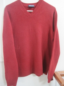 This is what the Lands End Sweater looked like before the washing machine did its magic. It is large Woman's v-neck sweater.