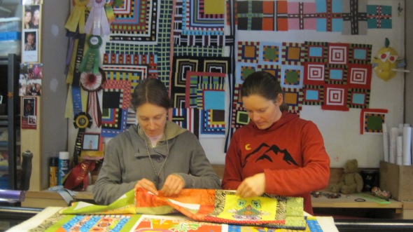 These quilters spent the afternoon at my house finishing their quilt top.