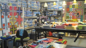 Here is what my stash looks like now! This is the biggest room in our home and yes, it is this messy more often than I would like!