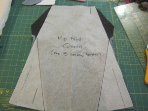 Now I put the pattern piece on top of the pieced wool and cut the shape of the center panel of the skirt out.