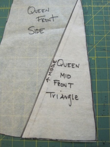 To do this properly,  I draw two triangles onto my master pattern.  I then trace those triangles onto pattern paper, add seam lines and cut out to make the new pattern piece for the skirt.