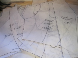 In a previous post I showed a very simple set of pattern pieces. In reality these are all the pattern pieces I made for the garment. Each time I change a line, I have to rework the pattern. the good thing about this, is that when I am done, I will have one good solid working pattern that I can use again and again.