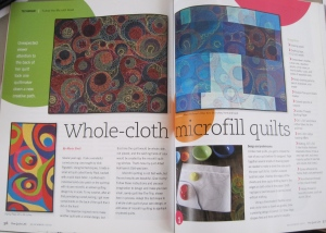 Here is what the article looked like. I had to make the sample over and over again completing the work to various stages so that the photographer could capture the quilt a different places int he design process.