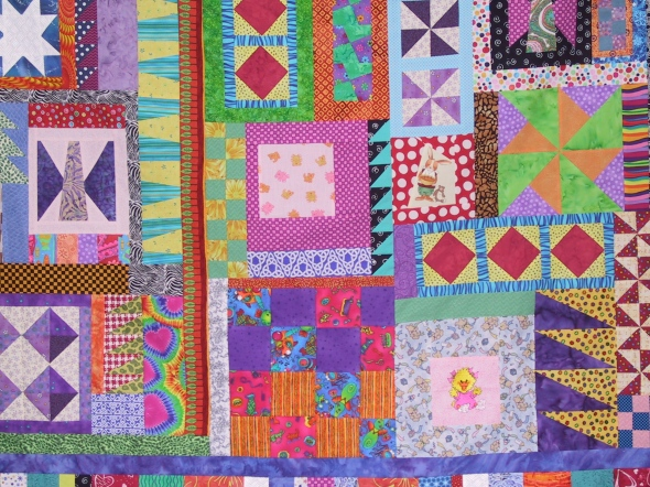 This quilts are early examples of my kitchen sink quilting. If its too big, cut it off. If it is too small, add some more fabric. It works! Really it does.
