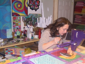 The great thing about being the quilter for a community quilt is that as you quilt each quilters block you really get to know each person in the quilt.