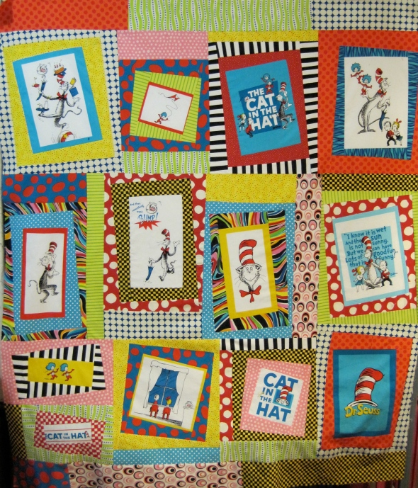I have always wanted to do one of these quilts where you showcase a collection of novelty prints--say teapots, or flowers, or things with wheels, you get idea.