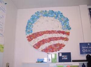 Some fun art work that was in the Obama Headquarters in Anchorage.