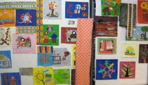 Here is a photo of the quilt in   the very early stages of design.