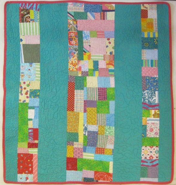 Here is the pieced back of Fletcher's quilt. I like it as much as the front.
