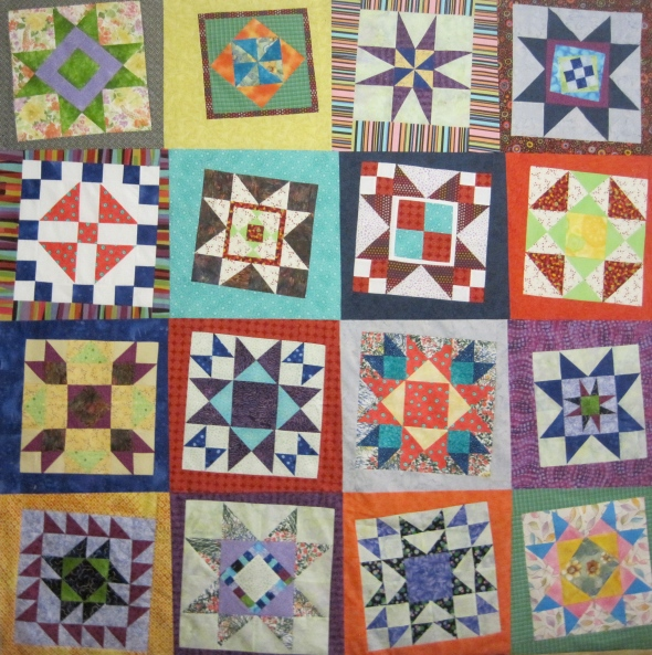 """This quilt measures 60"""" by 75"""". There is actually one more row to the quilt, that you can't see. Using this type of sashing is a great way to make a bigger quilt top, and also make that quilt top look fun."""
