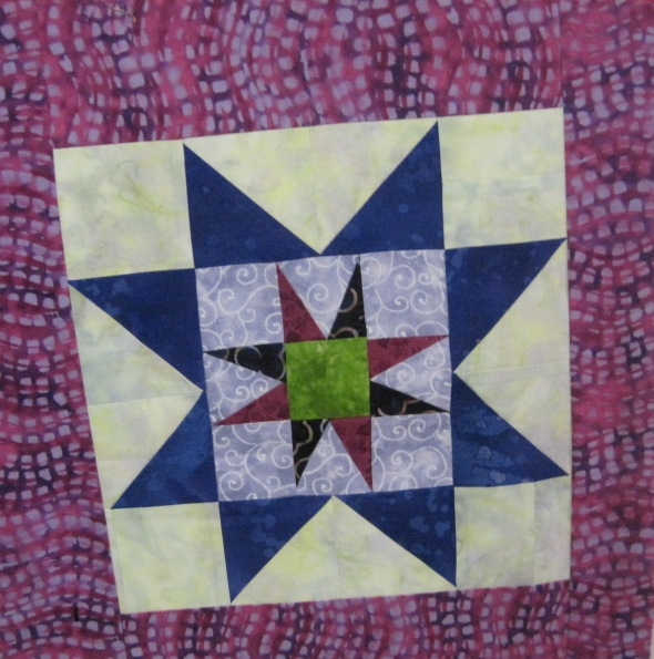 This is one of the blocks I added. One way to make a small block bigger is to use it as the center block for a star.