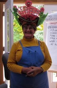 Here Nancy is modeling a beautiful headdress from South Africa.