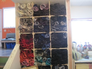 Here is the new entrance to my studio--a beautiful collection of felted wool.