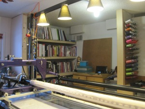 The far corner of the studio is no longer a jungle gym for kids. It is my office space with all my books and paper supplies.