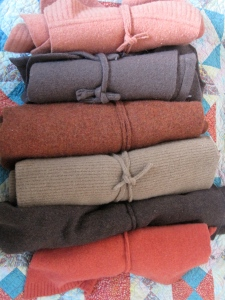 One of my sweater models lives out in McCarthy year round--we met to select her sweater palette.