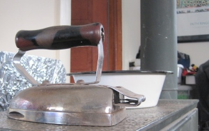 Here is the other iron I use. This one uses the heat of our wood burning stove.