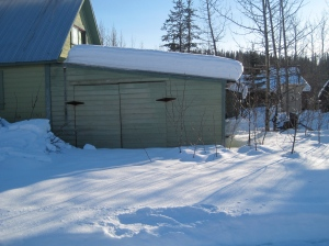 This is our garage, back in the day it actually housed a mode-T. Soon it will house sewing machines!
