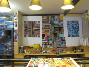 Here is what is on the other design walls. I am always kind of surprised at what quilts are started together and then what quilts actually get finished.