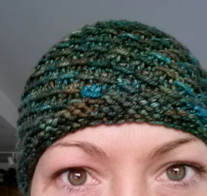 Mereidi knit this hat and she wanted the sweater to be inspired by the yarn. This was a great idea.