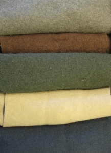 Here the wools I selected. The brown actually didn't make the final cut. All the wools are lambswool which is thick but not too think--a perfect weight for someone who is outdoors a lot like Mereidi is.