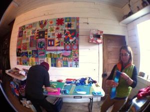 One of cutting stations with me in the foreground thinking about color.