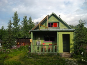 This is our cabin. Creative Cloth was held across the street in the Old Hardware Store.