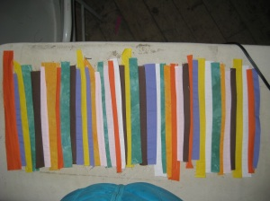 Petra's strip piecing that will later become dryas.