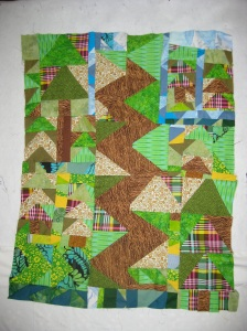 The Path to Mark's Place. Mark was my naturalist on staff for the week. When we wasn't sharing his knowledge about birds, and  plants, and mountains, and culture history of the McCarthy area, he stitched up this beauty. This is Mark's first quilt.