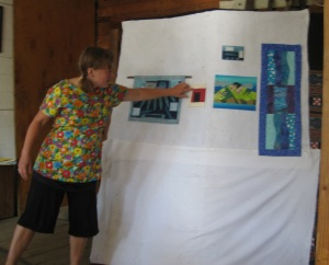 Nancy presenting her work on ice and water.