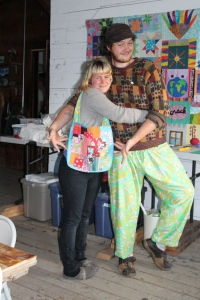 Pajama bottoms and totes--useful and fun to make. These young models look in their creations.